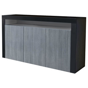 Sideboard in Black Matte with 3 Door and 1 Open Case, Modern Design