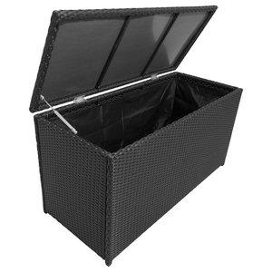 Poly Rattan Garden Storage Chest, Black