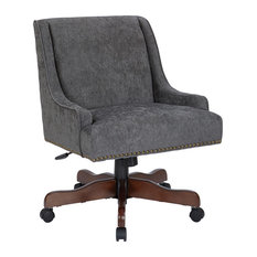 Everton Office Chair With Antique Bronze Nailheads & Charcoal With Coffee Base