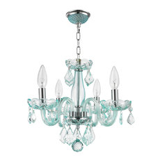 """Thor  4-Light 12"""" Crystal Candle Chandelier, Coral Blue"""