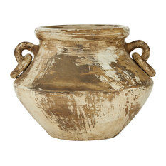 "Large Distressed Beige and Brown Round Ceramic Pot With Handles, 13""x10"""