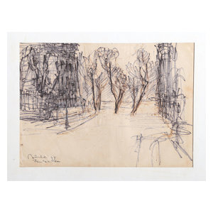 """Dimitrie Berea """"Fontainebleau, 37"""" Marker Drawing"""