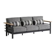 Metal Frame Sofa With Wood Arms
