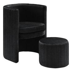 Selena 2-Piece Velvet Accent Chair and Ottoman Set, Black