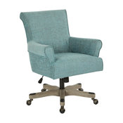 Megan Office Chair, Olive Fabric With Gray Wash Wood, Tourquoise