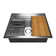 """AKDY 25""""x22""""x9"""" Top Mount Handmade Stainless Steel Kitchen Sink"""