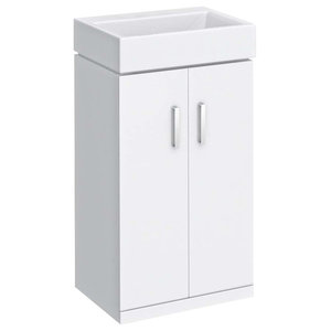 Modern Vanity Unit and Basin Storage Cabinet With 2-Door and Inner Shelf, White