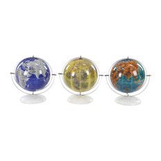Modern Stainless Steel and Marble Pop Art Decorative Globes