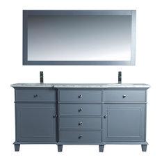 "Cadence Double Sink Bathroom Vanity With Mirror, Gray, 72"""
