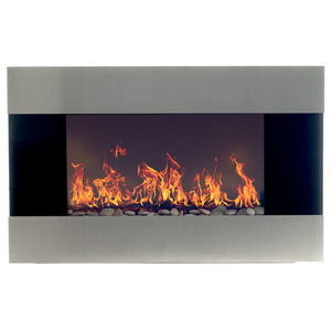 """Wall-Mounted Electric Fireplace With Remote, Stainless Steel, 36"""""""