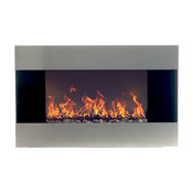 Wall-Mounted Electric Fireplace With Remote, Stainless Steel, 36""