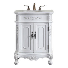 Bathroom Vanity Sink Chest Traditional Antique Single White Metal MDF