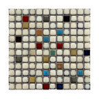 "12.38""x12.38"" Tuscan Square Mosaic Floor/Wall Tile, Cascade"