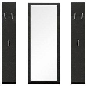 Modern MDF Wardrobes, Black High Gloss, 3-Piece Set