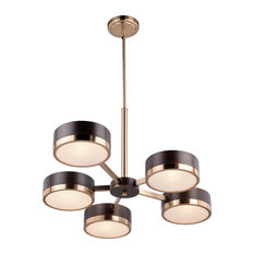 Madison 5-Light Chandelier, Architectural Bronze With Natural Brass