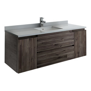 """Formosa Wall Hung Modern Bathroom Cabinet With Top & Sink, 54"""""""