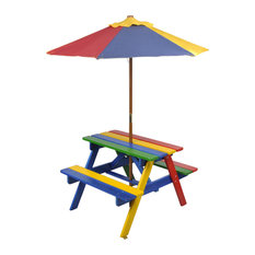 vidaXL Kids Picnic Table and Benches With Parasol, Multi-Coloured