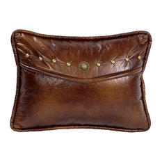 Oblong Brown Envelope Pillow with Faux Leather and Concho