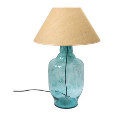 Wide Glass Carafe Table Lamp, Turquoise
