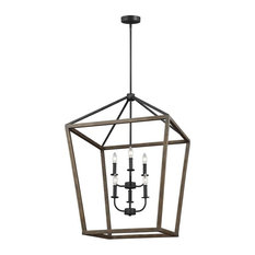 Gannet 6 - Light Chandelier in Weathered Oak Wood / Antique Forged Iron