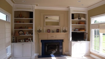 Built-in cabinetry, mantle, paneling