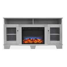 59.1-inchx17.7-inchx31.7-inch Savona Fireplace Mantel With LED Insert - White