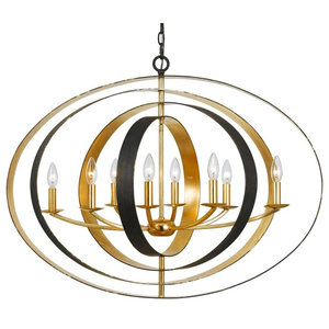 Luna 8 Light Chandelier, English Bronze + Antique Gold Finish