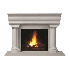 Fireplace Stone Mantel 1106.555 With Filler Panels, Natural, With Hearth Pad