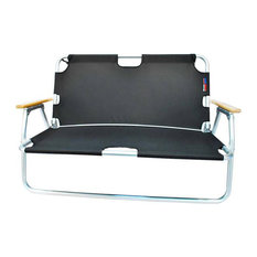 Sport Couch Two-Person Folding Aluminum Chair, Black