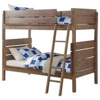 Ranta Antique Oak Kids Twin Twin Bunk Bed