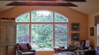 Katonah Family Room-Faux wood beams, door and room paint