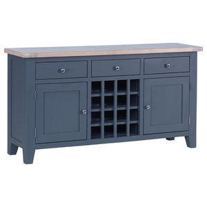 3-Drawer Wine Table, Dark Grey