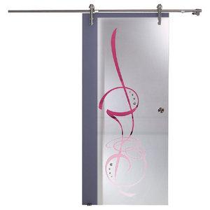 """Modern Sliding Glass Barn Door/Elegant Design/Gem Stones, 36""""x84"""", Left"""