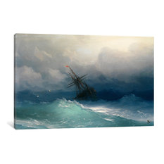 """Ship On A Stormy Seas"" Wrapped Canvas Art Print, 60x40x1.5"
