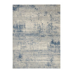 """Nourison Rustic Textures Contemporary Area Rug, Ivory/Blue, 7'10""""x10'6"""""""