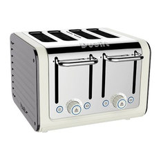 Dualit Architect 4 Slots Body With Panel Toaster, Canvas/Metallic Silver