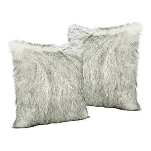 GDF Studio Laraine White and Gray Streak Faux Fur Throw Pillows, Set of 2