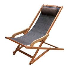 Byron Sling and Eucalyptus Lounge Chair With Brown Pillow
