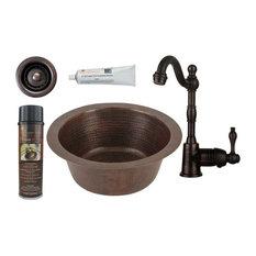 "12"" Copper Bar Sink, Faucet, 2"" Drain, 12"" Dia Outer"