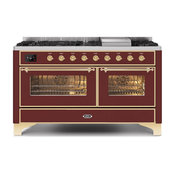 60 Majestic II Range With Glass Door, Griddle in Burgundy with Brass (NG)