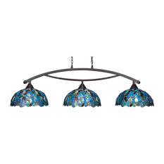 "Bow 3 Light Bar In Dark Granite, 16"" Blue Mosaic Tiffany Glass"