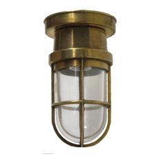 Flush Bulkhead Light, Solid Brass Interior/Exterior Use by Shiplights, Unlacquer