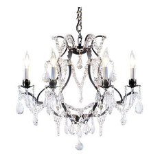Wrought Iron Crystal Chandelier 6-Light