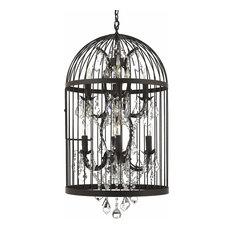 8 Light Castile Birdcage Chandelier Lighting Rust Finish Pendant