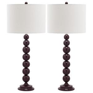 Safavieh Charlie Table Lamps, Set of 2, Deep Purple