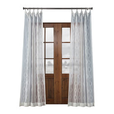 "Vega Patterned Linen Sheer Curtain, Vega White, 50""x96"""
