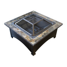 AZ Patio Heaters - Wood Burning Fire Pit With Square Slate Table - Fire Pits