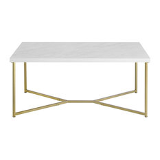 Rectangle Coffee Table Gold Painted Frame With Faux White Marble Top