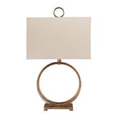 "Mahala Antique Gold Finish 28"" Metal Table Lamp"