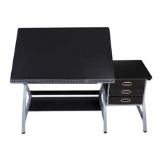 comfort products onespace craft station with stool black and silver drafting tables